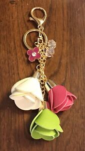 WHITE LIME GREEN HOT PINK FAUX LEATHER ROSE TASSELS GOLD CRYSTAL BAG CHARM