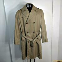 Vtg USA Long RAINCOAT Rain Trench Coat Mens Size S 36 Khaki belted