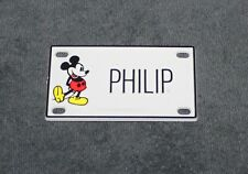 Vintage Walt Disney Prod. Mickey Mouse Name Philip Plastic License Plate