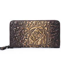 Real leather personality skull handmade men's Clutch long Card Holder Wallet