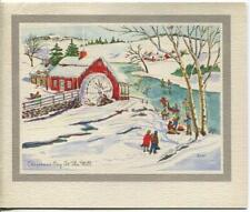 New listing VINTAGE CHRISTMAS ICE SKATING POND RED WATER MILL SNOW ICICLES ART GREETING CARD