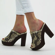 Ladies Peeptoe High Block Heel Platform Slip On Mules Snake Sandals Cloggs Shoes