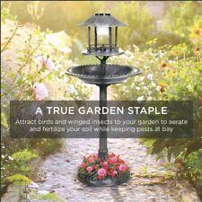 Bird Bath Solar Powered Light Garden With Planter Stone Patio Porch fertilize