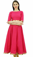 Bimba Women Magenta Anarkali Kurti With Golden Border Dress Indian Clothing