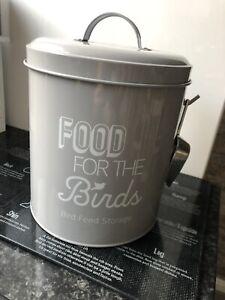Wild Bird Seed Food Container Tin Storage In Grey