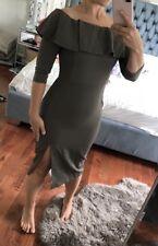 Asos Millie Mackintosh Olive Midi Dress Off Shoulder Size 4 Stunning