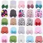 Newborn Infant Toddler Girls Baby Stripe Bowknot Beanie Hat Comfy Hospital Cap