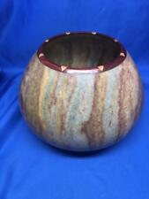 Guy Michaels Alabaster and Wood Vase 2001 Large Nice!