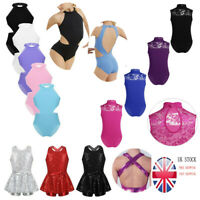 Girls Ballet Gymnastics Leotards Kids Modern Jazz Dance Dress Costume Aged 4-14Y