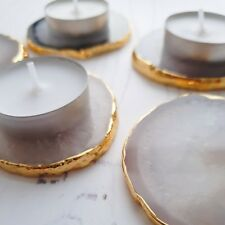 Grey Agate Small Tea Light Candle Holder Display Gold Edged Homeware Set Of Two