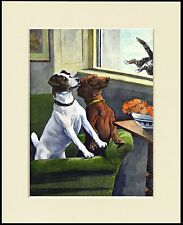 FOX TERRIER AND DACHSHUND CHASE CAT OUT WINDOW DOG PRINT MOUNTED READY TO FRAME