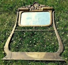 Hotel Wash Stand Mirror w Beveled Mirror and Towel Bar Oak Circa 1920 Antique