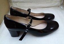 Ladies Clarks Mary Jane Block Heel Shoes Chinaberry Pop 5 UK Black Patent D