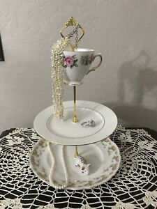 Shabby Chic Pink Floral And White 3-Tier Tray Vintage Plate Stand Set
