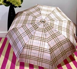 ▪️Burberry Vintage▪️ Icon Stripe Baby Pink  Folding Umbrella