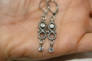 Altered Brighton Swiss Silver & Crystal  Lever Back Earrings