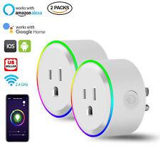 2 Mini Smart Plug Outlet Wifi Socket W/ Light Work With Amazon Alexa Google Home