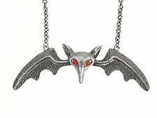 """5"""" Large Silver Lily Munster Bat Wings Necklace Pendant Jewelry Gothic Punk Red"""