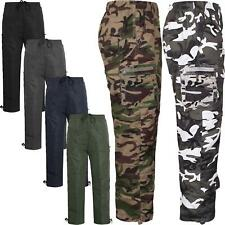 Mens Fleece Lined Thermal Elasticated Cargo Combat Walking Hiking Trousers Pant