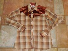 Vtg 70s Tem Tex Western Shirt Rockabilly Cowboy Thin Pearl Snap Mens Small Usa