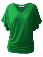 Womens V-Neck Dolman Sleeve Top Boatneck Drape Shirts