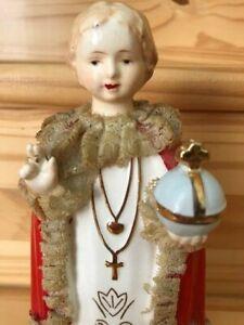 Antique Jesus Infant Of Prague Religious Catholic Statue Figurine Beautiful Face