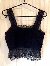 Black Floral Embroidery Crop Top Bustier Beautiful Grunge Goth Surf Hippy Boho
