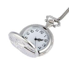 New Silver Quartz Retro Pocket Watch Pendant Necklace Gifts Men Women