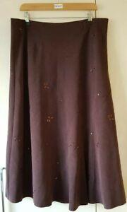 """Edinburgh Woollen Mill Women's Brown Skirt Size 16 Sequin Length 33"""" Casual"""