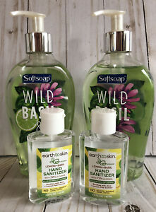 2 Softsoap Wild Basil + Lime Green Soap Pumps + 2 Earth To Skin Basil Lemon Stzr