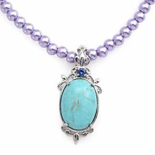 "Blue Howlite/Lab-Created Blue Sapphire Pendant w/Purple Glass Pearl 20"" Necklace"