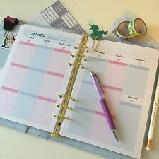 A5 Planner Pink/blue Insert Filofax Kikkik Week On 2 Pages WO2P 13 Weeks Printed