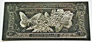 Monarch Butterfly - 1981 Antigua & Barbuda $30 Gold Banknote - 23k
