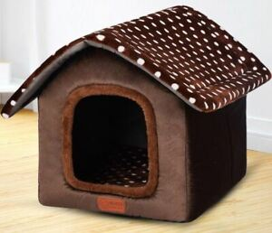 New Pet Dog Cat House Beds Tent Kennel Indoor Raised Tent Cushion Mat Size S-L