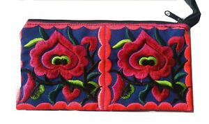 Purple & pink embroidered flower make up bag with zip