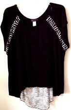 Women's 3XL Black White Knit Top/Shirt Annabelle Rayon/Spandex S/S Pre-Owned