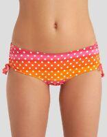 Ladies Orange Pink White Spot Gathered Side Hipster Bikini Brief Montego Bay NEW