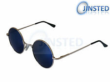 STEAMPUNK TEASHADES VINTAGE SUNGLASSES CIRCLE ROUND BLUE MIRRORED GOLD  SP001