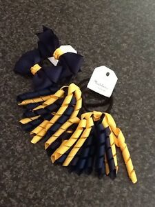Madelienas Handmade. Girls School Set . Curly & Double Bow /2 Pairs