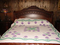 Vintage Applique Tulip  Handmade Quilted Cotton Quilt  measures  89 x 94 inches