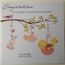 PERSONALISED Handmade Card NEW BABY BIRTH CONGRATULATIONS Girl