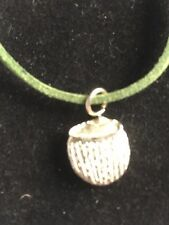 """Coconut Drink TG215 Fine English Pewter On 18"""" Green Cord Necklace"""