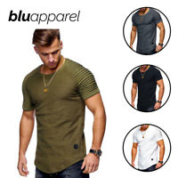 Blu Apparel® Mens Short Textured Sleeve T-Shirt Men Green [4 Colours] UK Stock