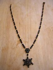 ORNATE ANTIQUE VICTORIAN MOURNING JEWELRY BLACK JET GOLD FILLED NECKLACE