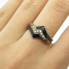 Mexico Vtg 925 Sterling Silver Real Black Onyx Gemstone C Z Handmade Ring 6 1/4