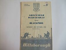 Sheffield Wednesday v Blackpool - Division One - Sat 20th Oct 1956