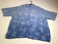 George Men's Short Sleeve Button Up Camp Shirt XXL 2XL Blue Palm Trees Tropical