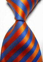 New Orange Blue Stripe Classic Men's Chinese Silk Wedding Tie UK Seller Dad Gift