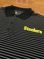 Mens Size Large Nike Pittsburgh Steelers Polo Shirt Black Striped