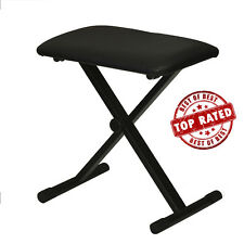 NEW Black Adjustable Piano Keyboard Bench Leather Padded Seat Folding Chair USA